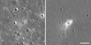 Israeli crash site, moon, before after