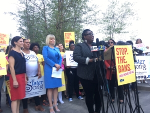Monica Simpson executive director of SisterSong, outside the federal courthouse in Atlanta on Friday. Credit: Maggie Lee