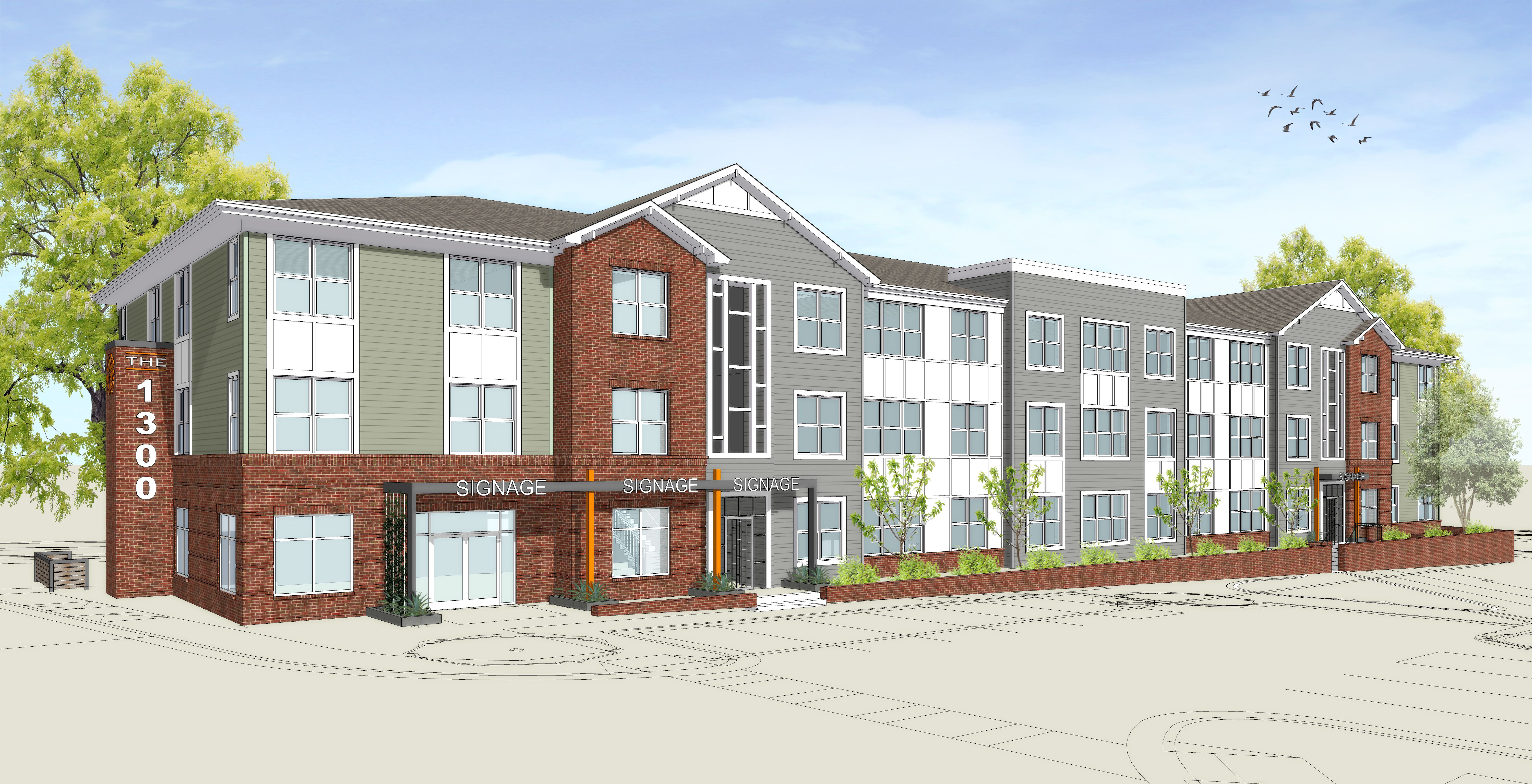 A rendering of a grey and brown apartment complex.