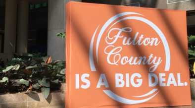 Fulton's logo on display in 2019 at the government center. Credit: Maggie Lee