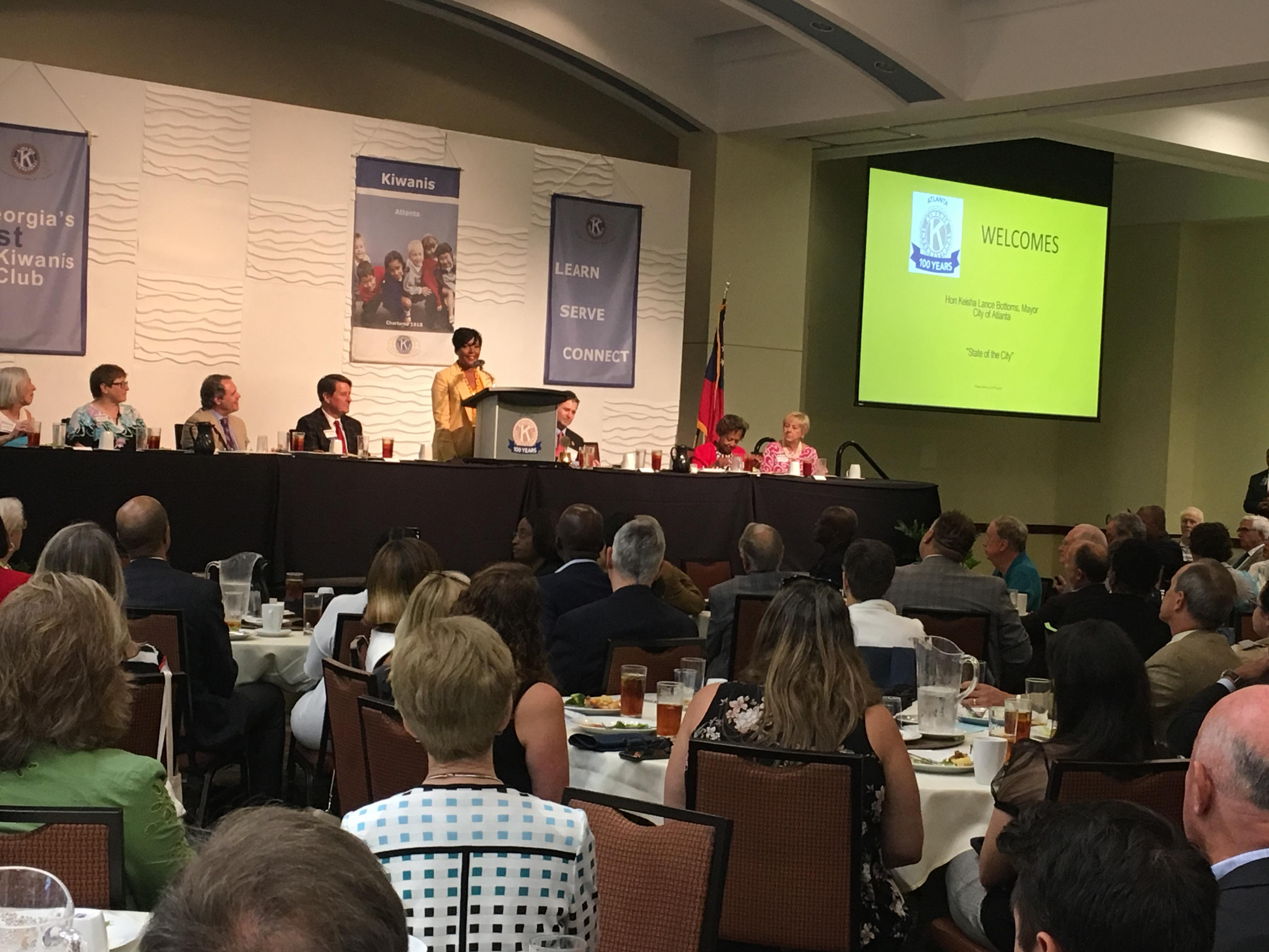 Atlanta Mayor Keisha Lance Bottoms addressing a full house of more than 200 people at the Kiwanis Club of Atlanta on Tuesday. Credit: Maggie Lee