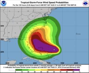 hurricane dorian, wind speed