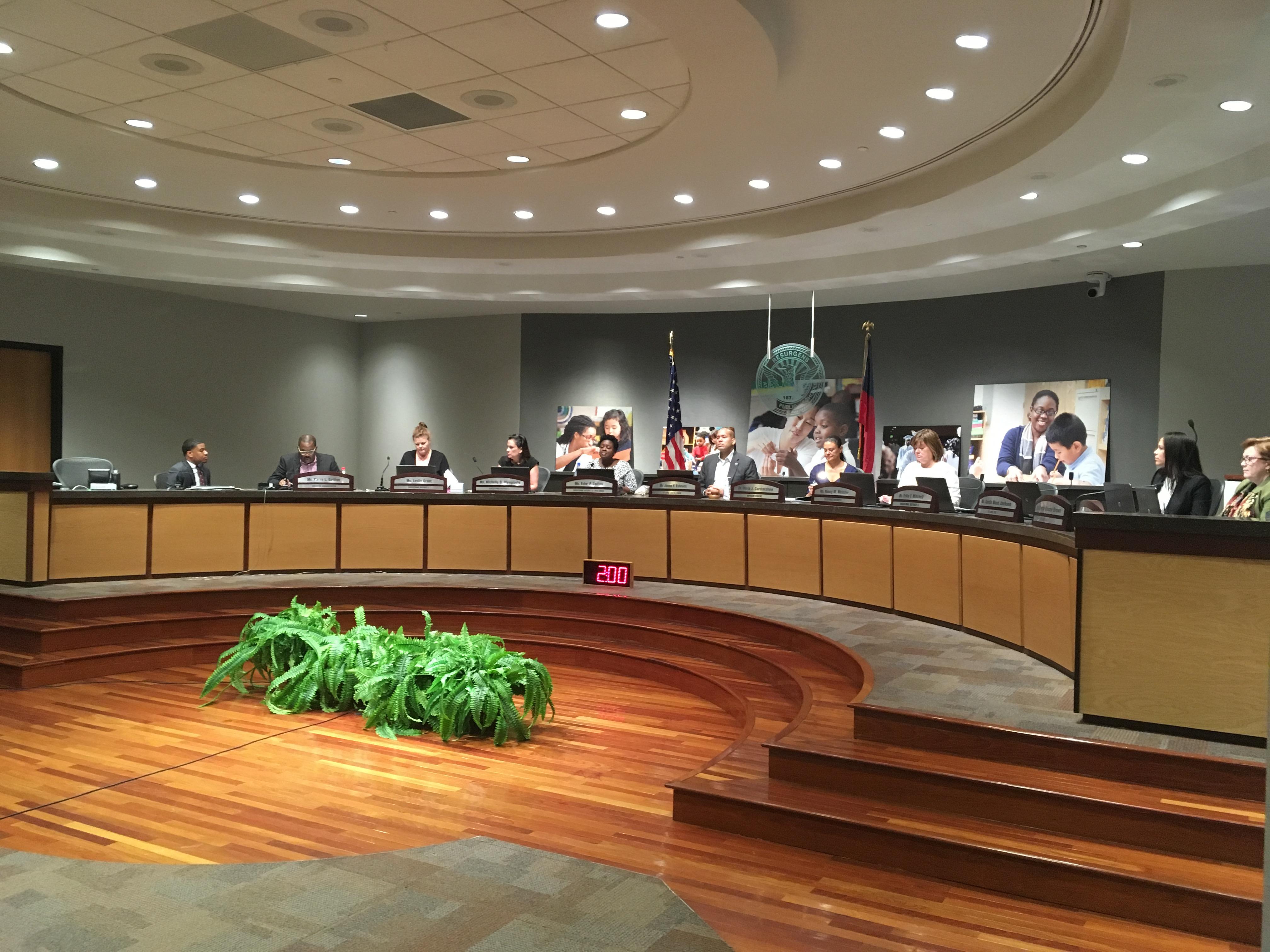 Board members sitting at meeting table at Atlanta Public Schools Board of Education meeting on Monday. Credit: Maggie Lee