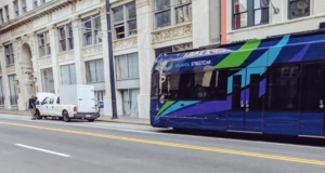 Streetcar stuck behind vehicle