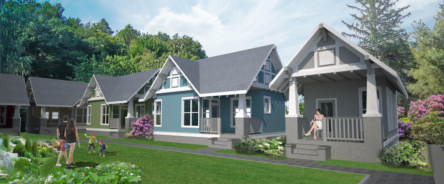 A rendering of a tiny home community.