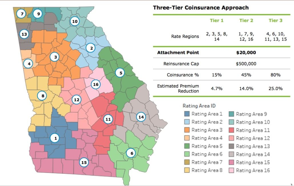Georgia would be split into zones where public subsidies would be highest for folks who have the highest health insurance premiums. The heftiest subsides would be targeted in far northeast and southwest Georgia.