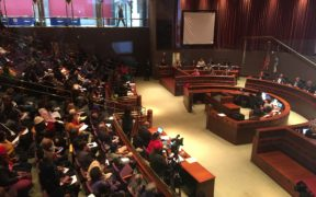 View of Fulton County Commission meeting on January 8