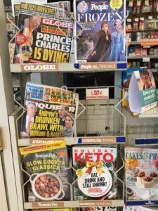 magazine rack, drug store