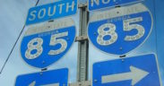 An interstate sign for Interstate 85 north and south