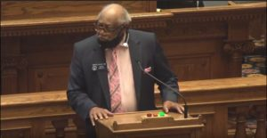 State Sen. David Lucas, D-Macon, on the Senate floor Saturday.