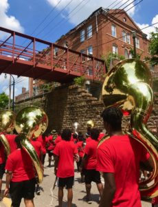 Juneteenth 2018 parade passes Gaines Hall. Credit: Kelly Jordan
