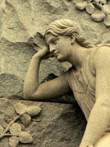 Westview Cemetery sculpture of a woman lost in thought