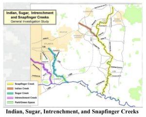 Intrenchment Creek locator map