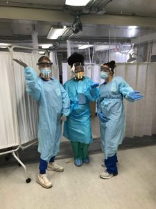 Staff at Grady Memorial Hospital in Atlanta who received face shields distributed by Paralink. Credit: Special