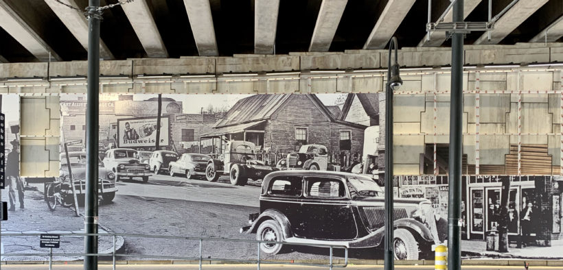 A new mural celebrating the businesses, institutions, and events of Auburn Avenue's history, is being installed this month. It's by Amec Foster Wheeler and Signature Design, and is part of the Auburn Avenue History and Culture Project. (Photo by Kelly Jordan)