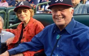 Rosalyn and Jimmy Carter at the last Braves game at Turner Field in 2016. (File/Photo by Maria Saporta)