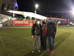 """Husband and wife team – David Lewis and Danica Kombol – co-chaired the 2020 """"Sleep Out"""" standing next to Ben Deutsch, board chair of the Covenant House (Special: the Covenant House)"""