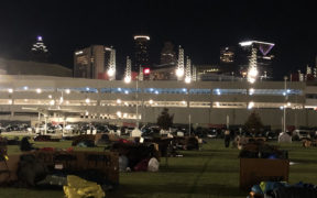 "A cold, socially-distanced ""Executive Sleep Out"" was held Nov. 19 in the Home Depot Backyard next to Mercedes-Benz Stadium (Photo by Ben Deutsch)"