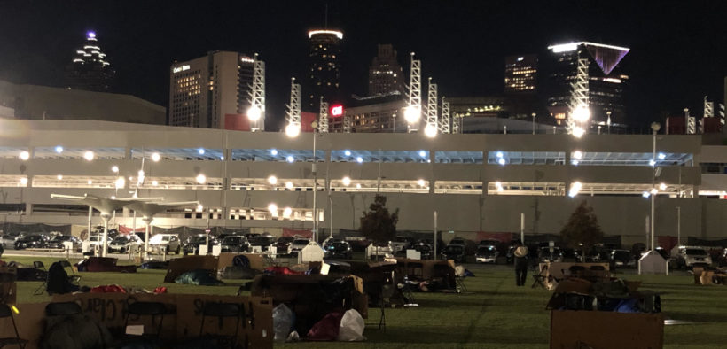 "A cold, socially-distanced ""Executive Sleep Out"" was held Nov. 19 in the Home Depot Backyard next to Mercedes-Benz Stadium (Photo by Ben Deutsch)"