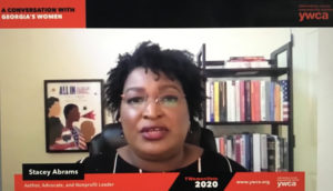 Stacey Abrams during the YWCA of Greater Atlanta's town hall conversation with Georgia women (Photo of Zoom call by Maria Saporta)
