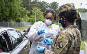 Georgia National Guard members helping administer COVID-19tests in Decatur in this April, 2020 file photo. (Credit: U.S. Army National Guard photo by Spc. Tori Miller.)