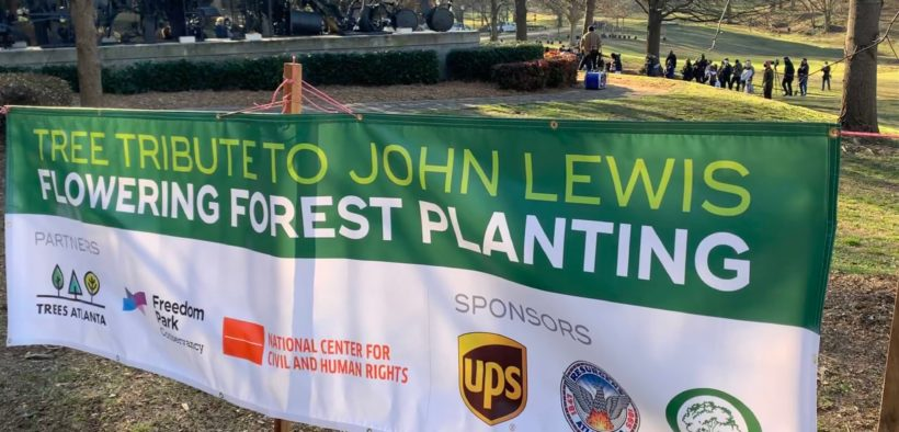 John Lewis Freedom Park trees Atlanta 2021 sign