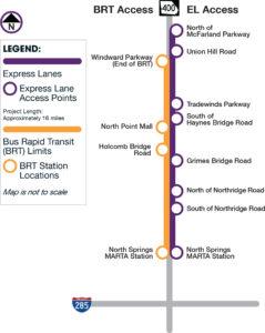Ga. 400 BRT express lanes, map