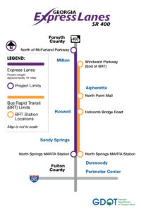 Ga. 400 express lanes, map
