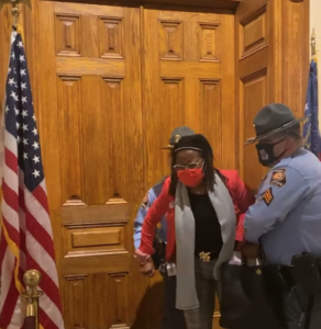 Rep. Park Cannon is arrested and escorted out of the Georgia Capitol.