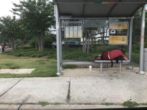 Homeless, urban camper