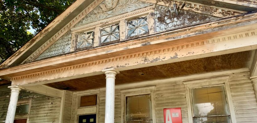 """The porch of the """"Cherub House"""" at 731 Lawton St. in the West End. (Credit: Kelly Jordan)"""