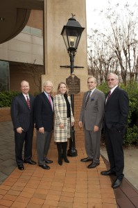 Celebrating relocated gas lamps: (left to right) Hank Linginfelter, executive vice president, utility operations, AGL Resources Inman Allen, son and grandson of Ivan Allen Jr. and Ivan Allen Sr. Suzanne Sitherwood, president, Atlanta Gas Light Sam A. Williams, president, Metro Atlanta Chamber John W. Somerhalder II, chairman, president and CEO, AGL Resources, parent company of Atlanta Gas Light