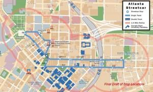 Atlanta Streetcar route map