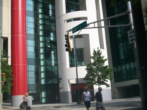 AmericasMart, a Portman project, helped create Atlanta's convention business, say supporters of the name John Portman Boulevard at Historic Harris Street. Credit: David Pendered