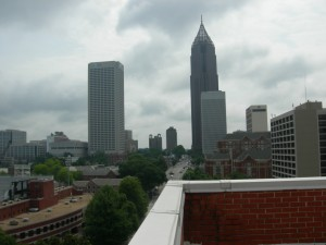 Today's view of Midtown from the rooftop of the Burge.
