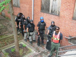 Homeland Security prepares for training exercises in the vacant Burge Apartments.