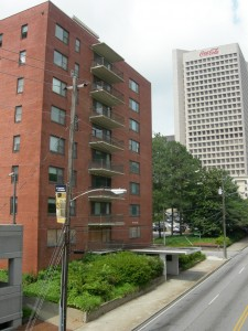 The Burge Apartments on North Avenue with Coca-Cola's headquarters in the background.