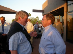Woodruff Arts Center President Joe Bankoff chat with Georgia DOT Commissioner Vance Smith during LINK reception