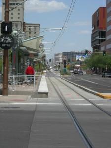 Light rail line in downtown Phoenix