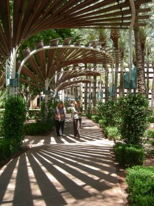 A covered walkway between ASU and a downtown shopping area in Phoenix