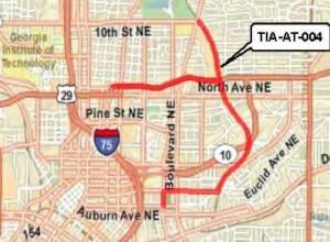 Eastern route of Atlanta's streetcar