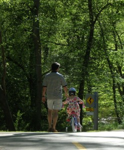 Father, daughter on Buckhead trail