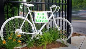 Ghost bike memorial for Paul H. Taylor.