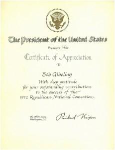 Certificate of appreciation to Bob Gibeling from President Richard Nixon