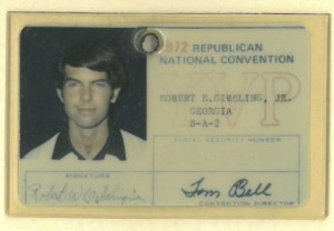 Bob Gibeling's ID card from the 1972 Republican Convention.