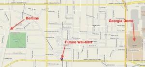 Location of Historic Westside Village. Credit: Mapquest, David Pendered.