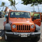They rented a jeep to tour Oahu.