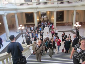Protesters against the closing of the Georgia Archives at the State Capitol last week.