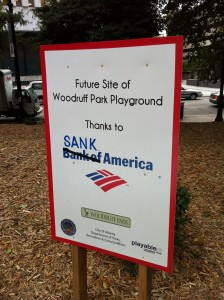 Graffiti near the Occupy Atlanta encampment in Woodruff Park blames financial institutions for hopelessness in America. This sign is across Park Place from the Trust Company of Georgia Building. Robert W. Woodruff's father, Ernest Woodruff, served as president of Trust Co. Credit: Michelle Hiskey