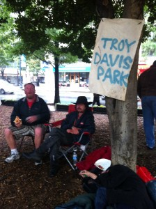 """Occupy Atlanta protesters have named Woodruff Park """"Troy Davis Park"""" for the man executed in Georgia last month amid international criticism. Credit: Michelle Hiskey"""